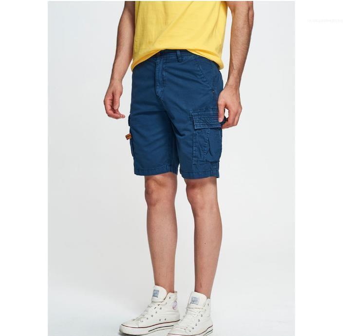 Sommer Solid Color Cargohose lose Reißverschluss-Knopf-Taschen-Homme Shorts Fashion Lässige Kleidung Cargo Pants Mens Relaxed