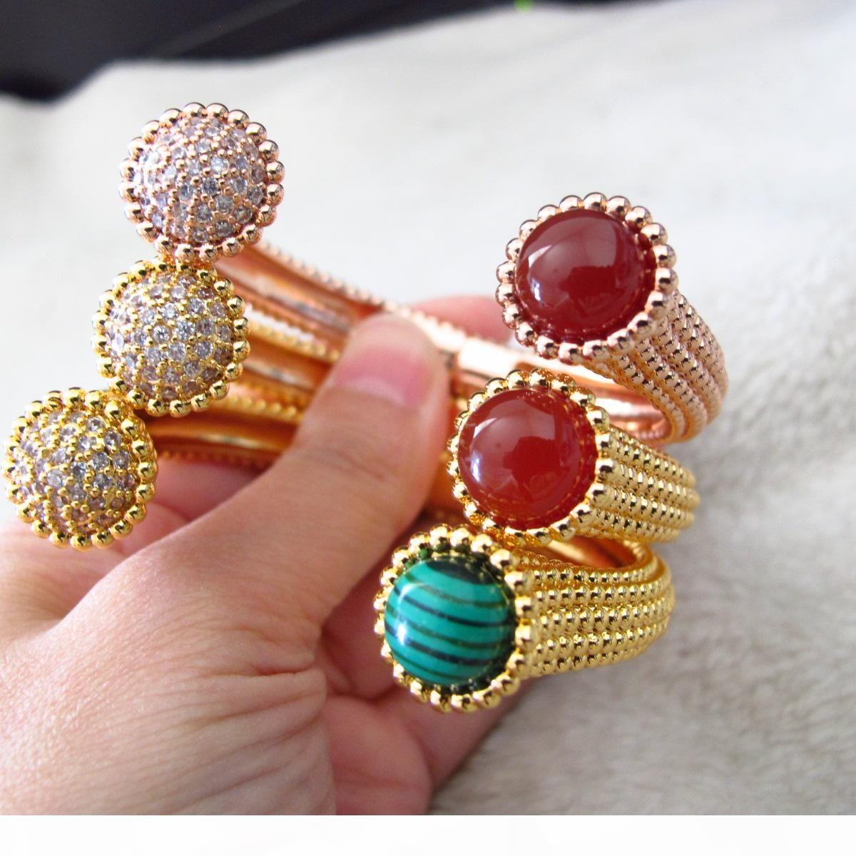 kadınlar için yüksek kalitede lüks klasik Moda CZ elmas manşet bilezik bilezik tasarımcı 18K altın kaplama parti takı