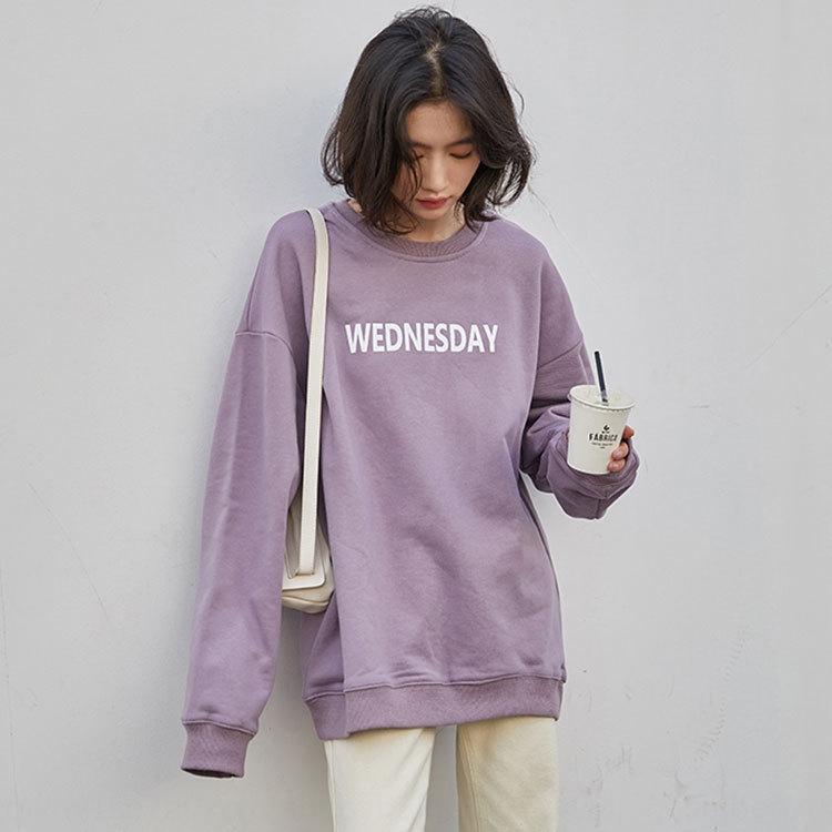 fGUAh Lazy manga larga carta estilo de las mujeres 2020 Top otoño suéter suéter de cuello redondo ins estilo coreano estudiante tapa floja alrededor del cuello de tres veces al día CCA