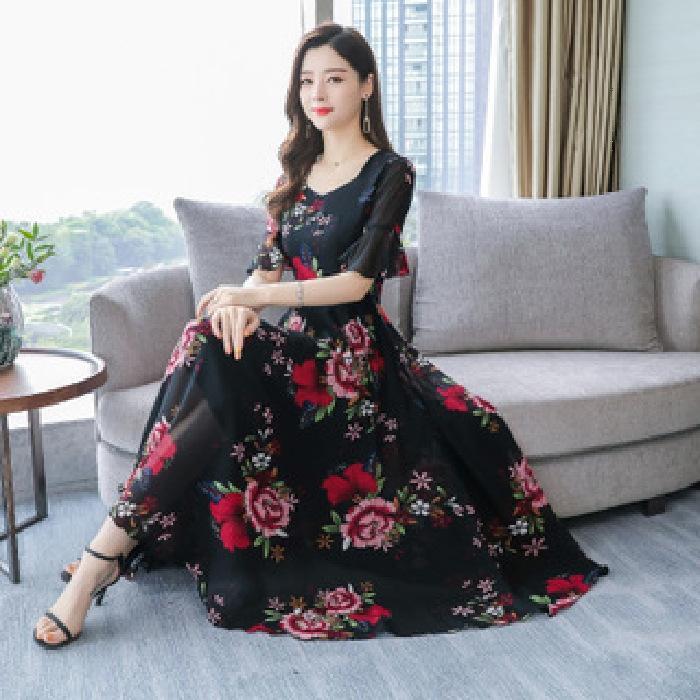 BNo1G de mangas curtas 2020 Verão coreano vestido Novo estilo impresso saia saias floral solta emagrecimento A- linha vestido da forma das mulheres