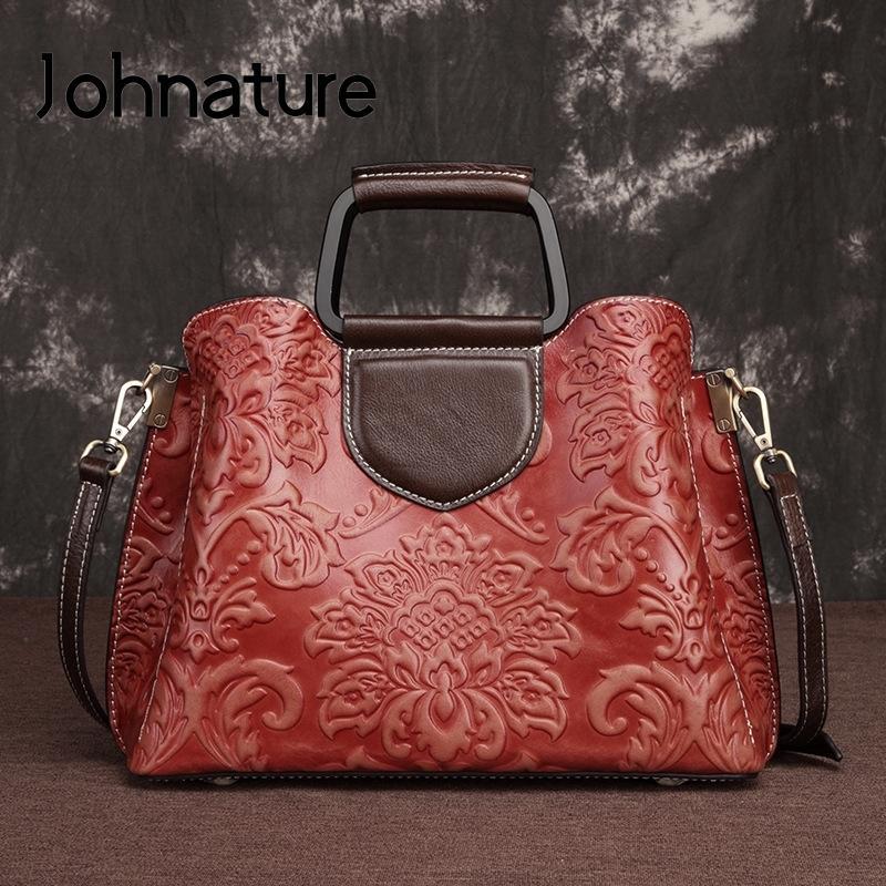 Johnature Couro Grande Capacidade Casual Mulheres Bag 2020 Novo Primeiro Vintage Camada Ombro Couro Bag feminina bolsa