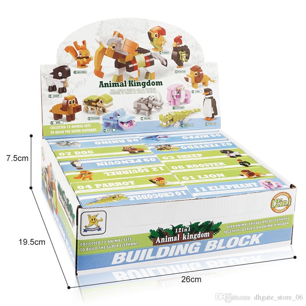 12 in 1 giocattoli bambini ostruisce i giocattoli bambini serie animali Building Blocks giocattoli educativi di vendita 2020 blocchi di costruzione dono dello chlid