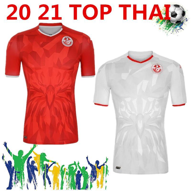 qualità Thai 20 21 Tunisia maglie calcio 2020 2021 della nazionale Msakni Khazri Sliti BEN Yousse HAMZA Casa lontano Football Shirt