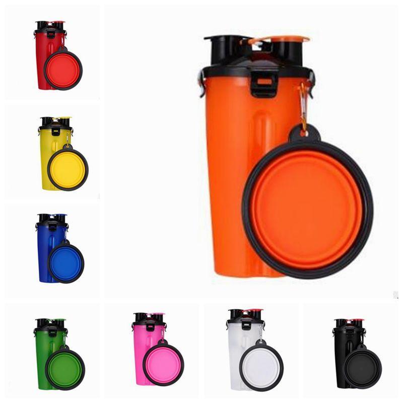 المياه الحيوانات الأليفة زجاجة 2 في 1 البلاستيك قابلة للطي الغذاء كأس الأمعاء الحيوانات الأليفة المياه الأغذية ثنائي الغرض CupPet كوب ماء مع طوي السلطانيات تغذية DWD1082