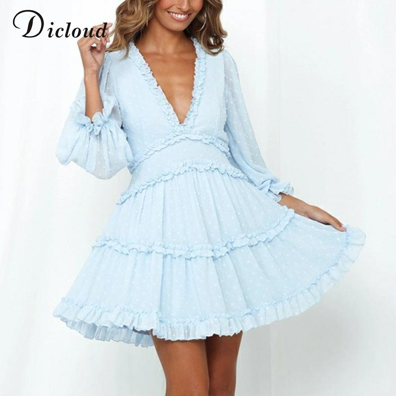 DICLOUD Женщины в горошек платье Baby Blue осень с длинным рукавом Одежда Вырез Назад Сексуальное мини платье партии способа Outfit Ladies LJ200824