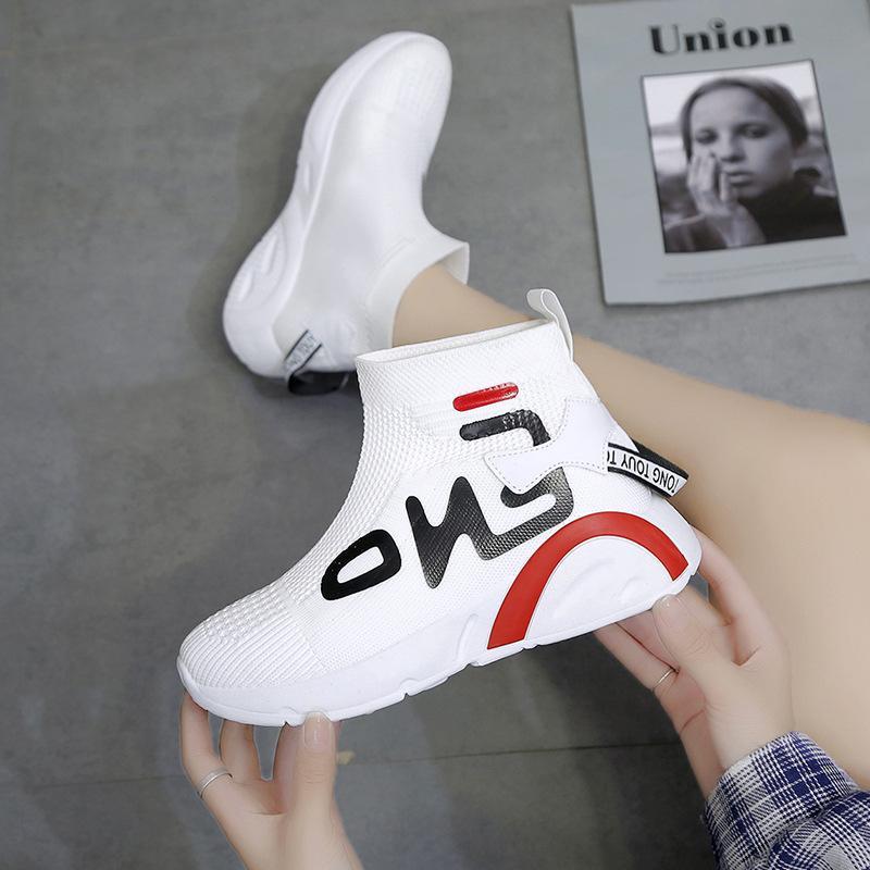 Повышена Носки Обувь Для женщин 2019 Осень New High-Top дышащей сетки Red Daddy обуви на воздушной подушку платформа All-матч тапки