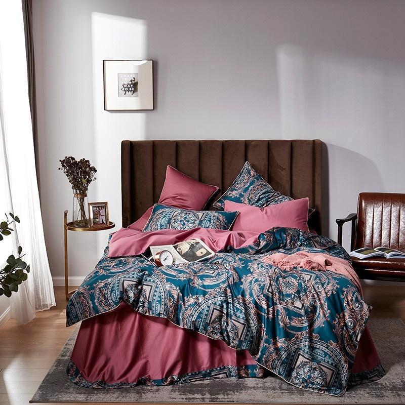Brilhante Vintage Modern Quilt / edredon cobrir definir algodão egípcio JPCS Ultra Suave de seda cama Set Bedsheet gêmeo Rainha king size
