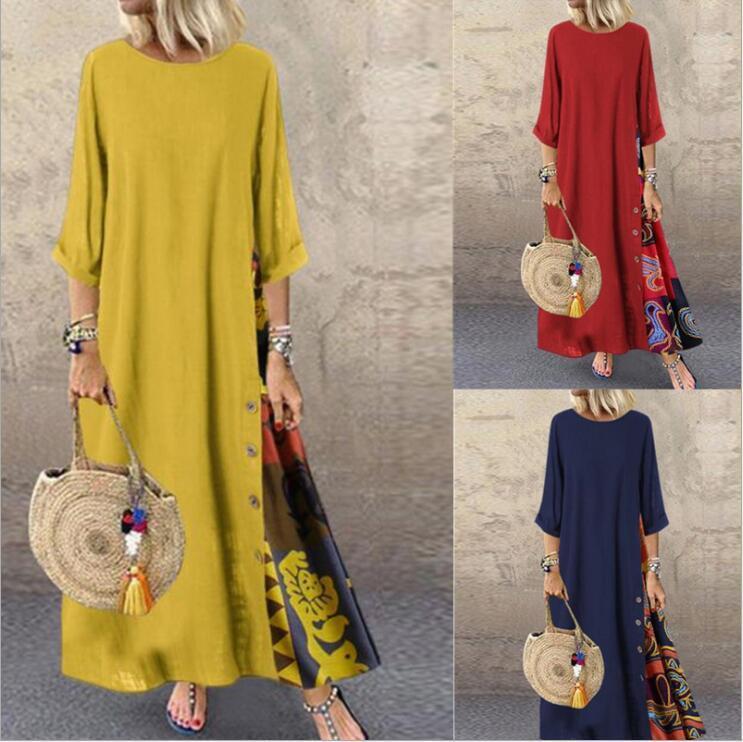4 색 M-5XL 여자 대형 긴 소매 꽃 인쇄 캐주얼 느슨한 카프 탄 롱 맥시 드레스 61314504090415
