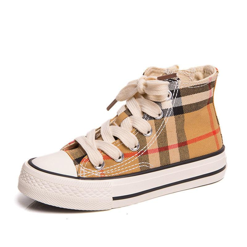 2020 Brand Designer Kids Shoes Sneakers Baby Toddler Trainers Run Shoes Infant Children Boys Girls plaid black white Plaid canvas shoes