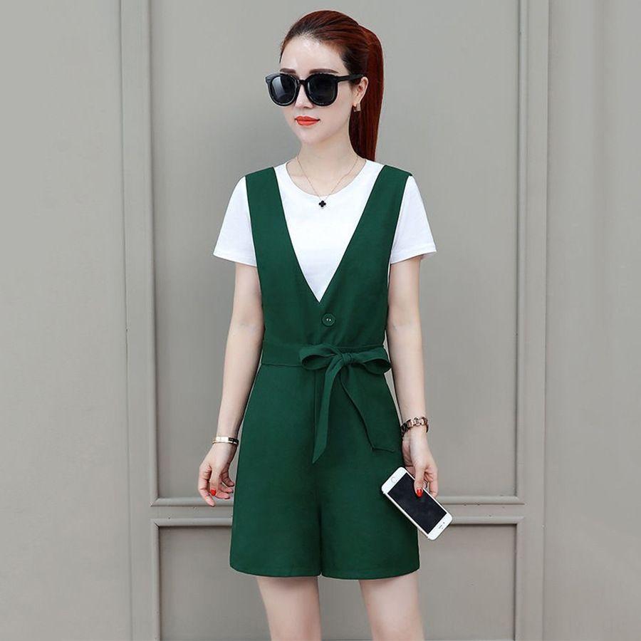 cinturón de los pantalones 2020 de la nueva manera del verano de las mujeres traje pantalón Camiseta establece el temperamento estilo occidental pequeña camiseta de algodón pone en cortocircuito traje de dos piezas de tendencia
