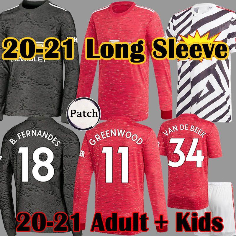 2020 2021 Top FC WALD Rashford Pogba SANCHO Langarm Fußball-Trikot Manchester Utd UNITED BRUNO FERNANDES Mann-Fußballhemd für Kinder Kit