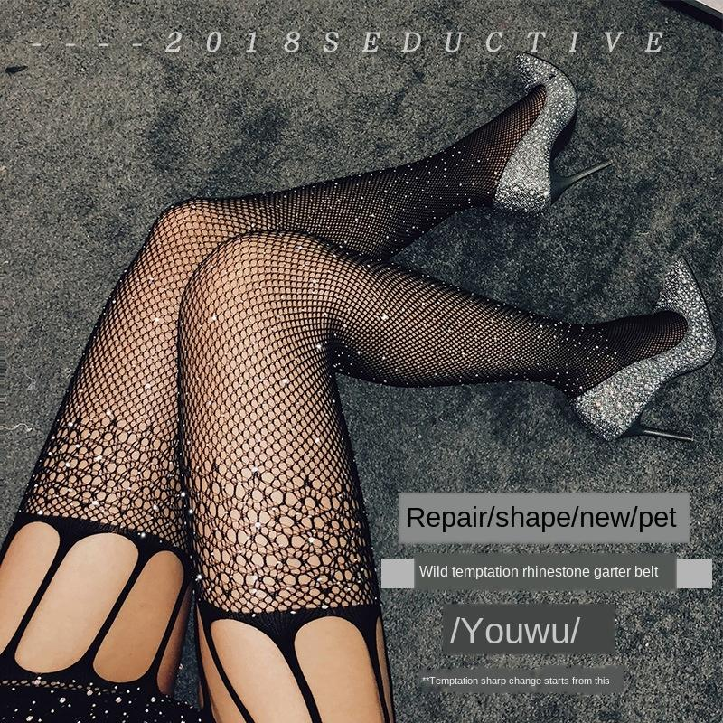 suspender meias Meilong sexy lingerie sexy broca quente malha meia-calça Sling meia-calça meias de rede de pesca oca com broca