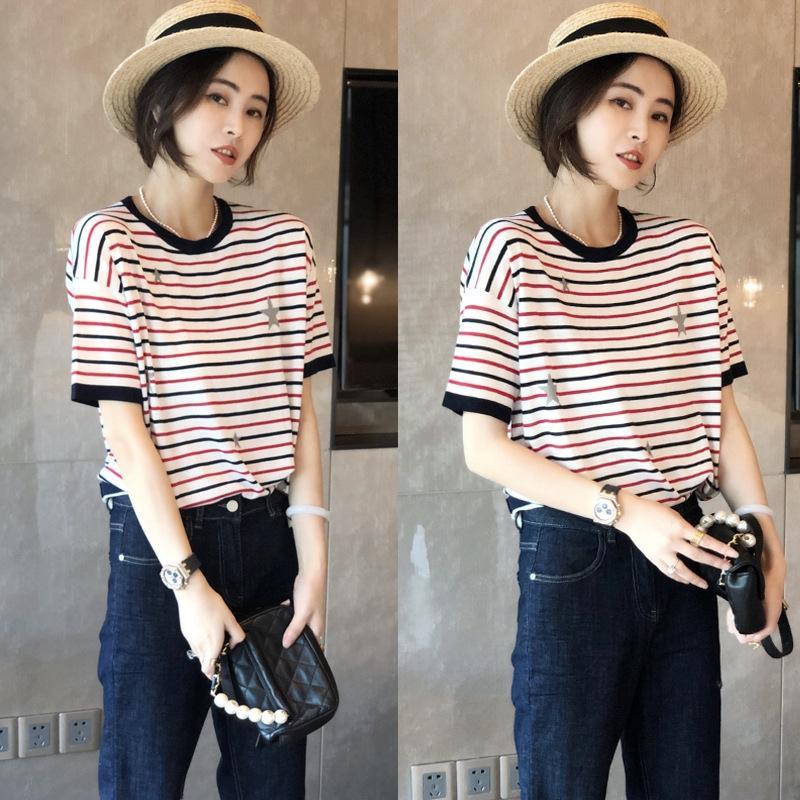 IpuWt Verão 2020 novos europeus cor da roupa das mulheres T- listrada de manga curta soltas camisa ocidental base de estilo moderno T-shirt das mulheres