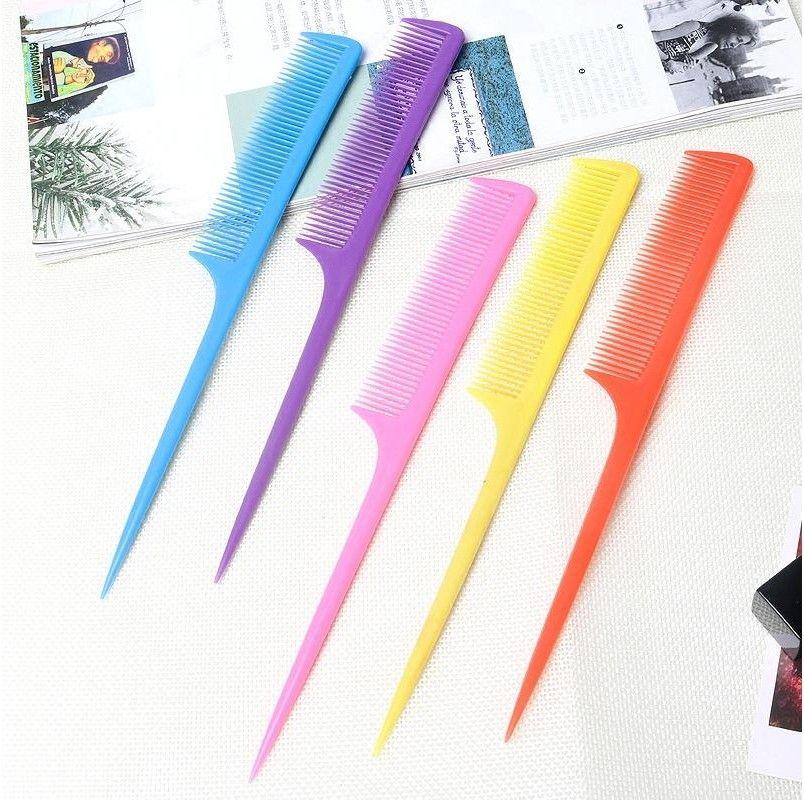 Пластиковые косметические волосы гребенчатые конфеты цветные заостренные хвост Combs парикмахерская стайлинг инструменты Professional Salon Multi цвет 0 09ZM F2