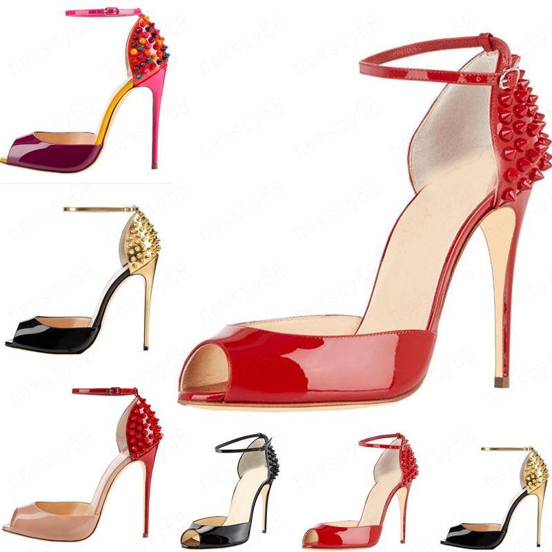 2020 جديد أزياء المرأة الكعوب العالية المسامير اللباس اللمحة أصابع القدم أحذية الكعب العالي السوبر الصنادل مسنبل رصع الأحمر أسفل مضخات حجم 10CM 34 -42