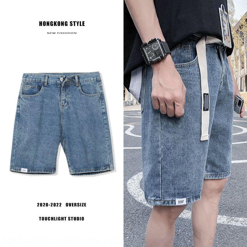 Mgvnm Verão sob ampla ins moda perna shorts jeans dos homens perdem retas calças de cinco pontos all-jogo Student calças perna larga moda