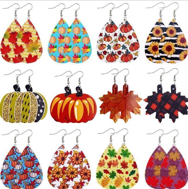 Orecchini di cuoio di Halloween per le donne di zucca, Forma Maple Light Weight Ecopelle ciondola gli orecchini Dichiarazione
