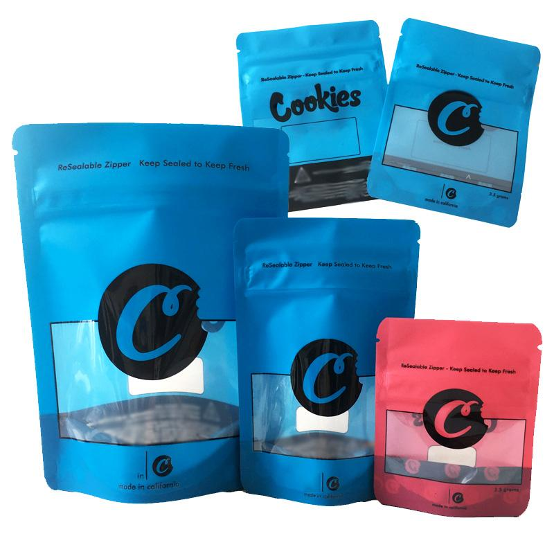 Galletas Mylar Bolsas Azul SF A prueba de pruebas 420 Dry 8th Flor Packaging Rojo Galletas California Resellable Mylar Herb Oll Plastic 3.5 Bag xnfw