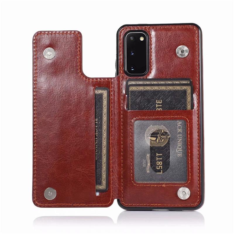 حالة جلدية الرجعية لسامسونج غالاكسي ملاحظة 20 فائقة note10 حالة الهاتف محفظة لسامسونج S20 S10 S9Plus S8 مع فتحات بطاقة