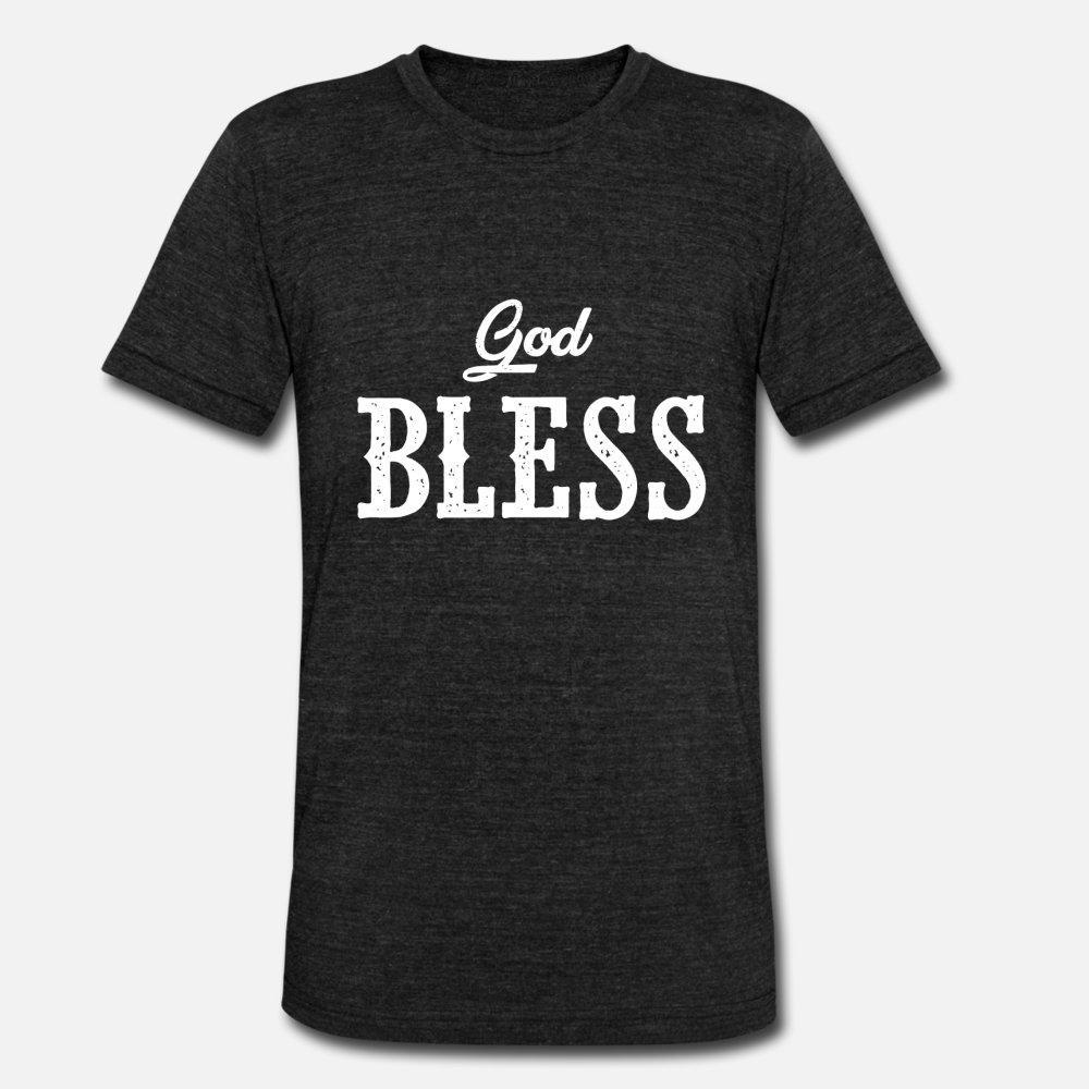 God Bless uomini della maglietta Progettazione manica corta girocollo raffreddare Camicia convenzionale Primavera Fit moda