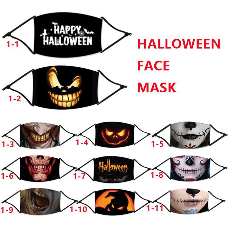 Мужчины Женщины Регулируемые петли уха лица Маски Многоразовый моющийся Печатные Halloween Party Mask Маски Horrable Рот Обложка ветрозащитный Анти пыли