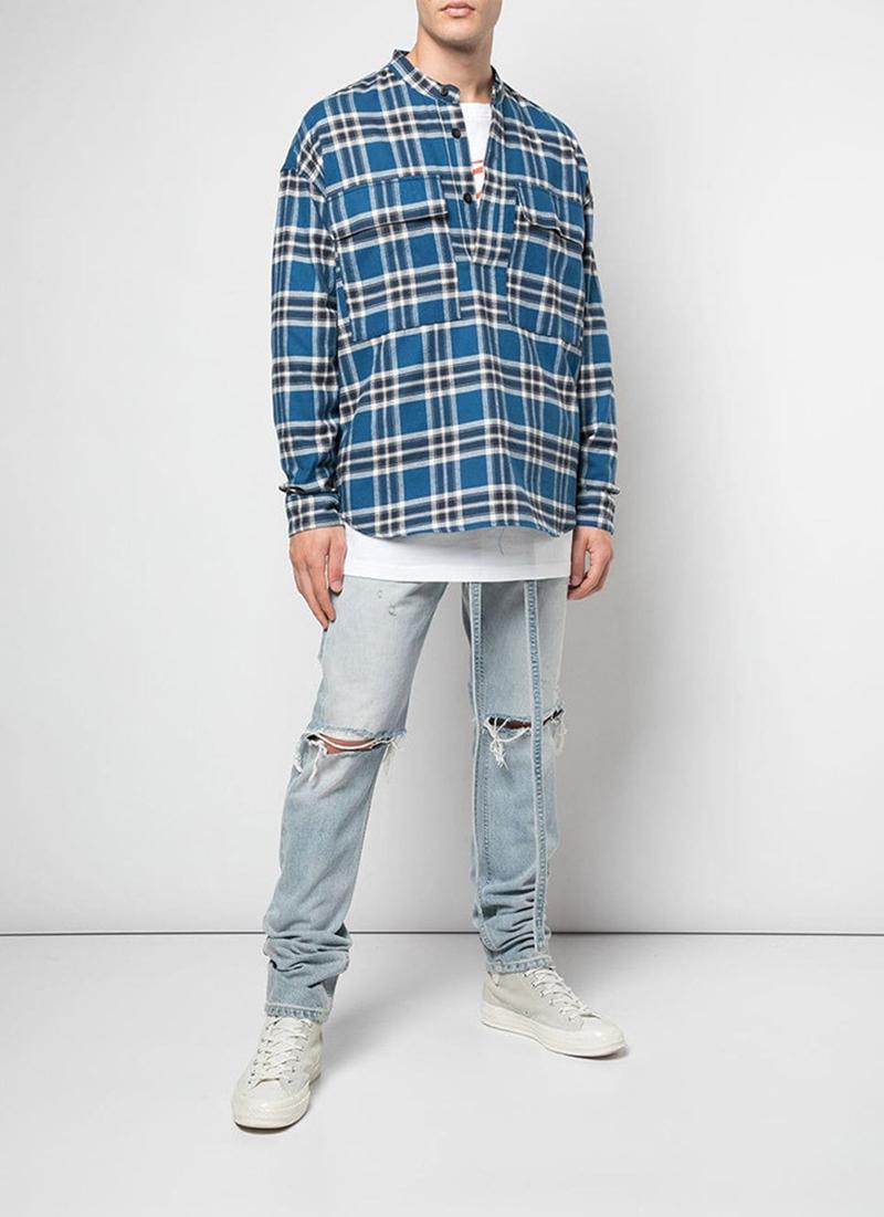 19FW FEAR OF GOD TARTAN PATTERN SHIRT Lattice Shirt FOG Fashion Long Sleeve Men Women Couple Casual Shirts Highstreet