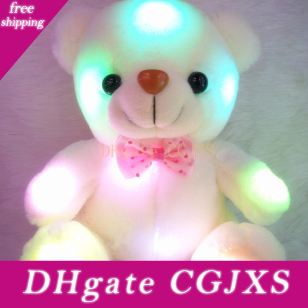 Colorful Led Glowing Small Bear Stuffed Doll Night Light Animals Plush Toys For Girls Kids Gifts For The New Year Dropshipping