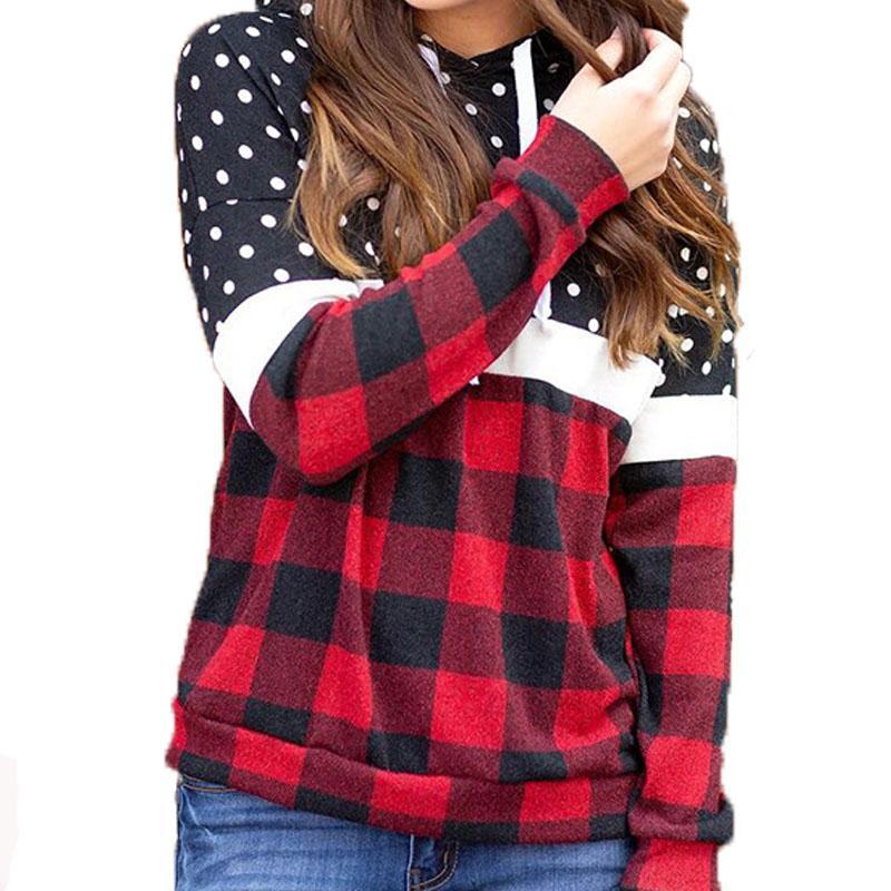 Las mujeres de moda sudaderas con capucha del remiendo del otoño de manga larga ropa con paneles de tela escocesa Impreso Pullover Tops femals diseñadores de camisetas