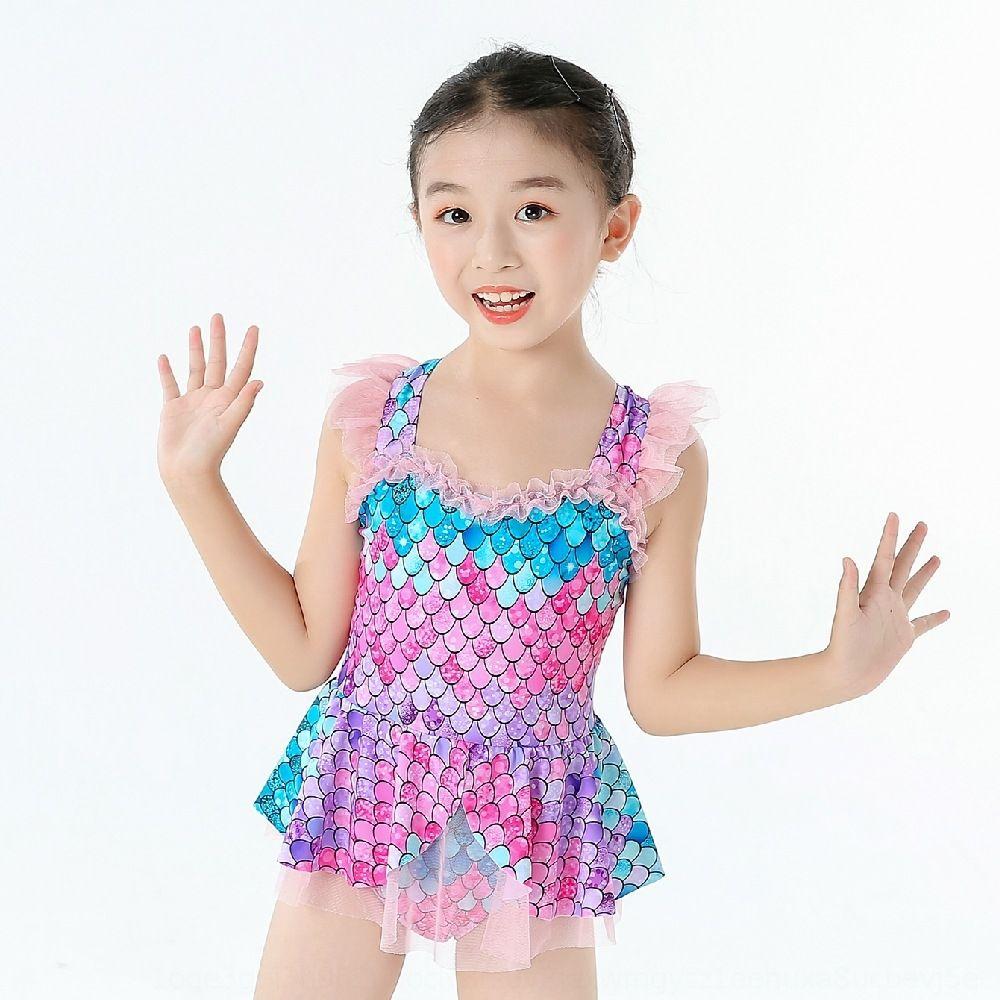 uma peça de estilo gaze à beira-mar ballet saia de gaze de estilo ocidental wX5x5 Girls' Pequena Sereia vestido de uma peça Swimsuit vestido de princesa maiô