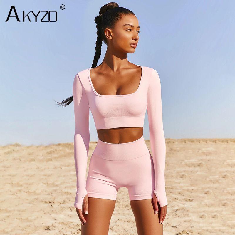 Tuta da donna Summer Lounge Due pezzi Set Casual Manica lunga Crop Top Tops e Shorts Suit fitness Suit Chic Workout Solid Donne