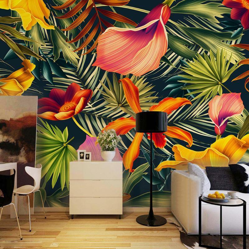 Personalizado Mural Tropical Rainforest plantar flores de Banana Leaves cenário pintado Sala Quarto Grande Papel Mural