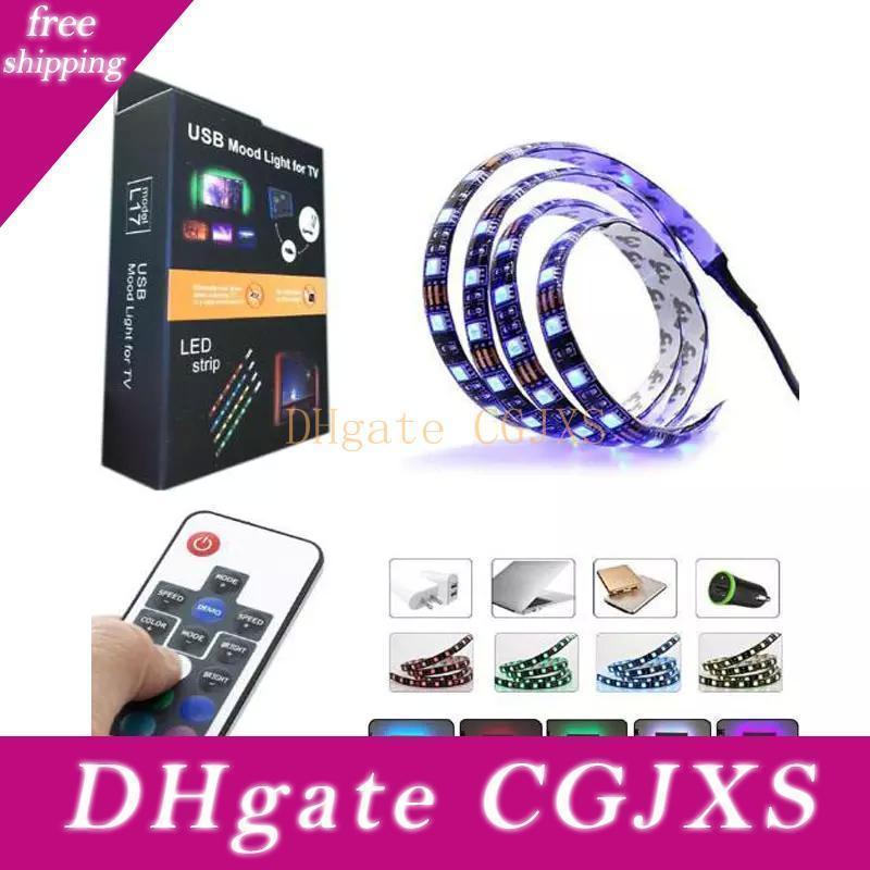 50pcs Fabrik Stock Hot 5050 DC5v RGB LED Streifen Wasserdichte USB-30LED / M USB-LED-Licht-Streifen Flexible Neon Band 1m 2m Add Remote für TV-Bac