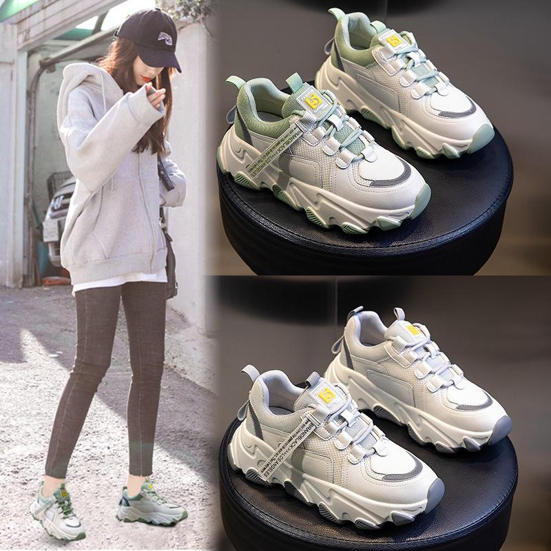 neue Leder torre Han-Ausgabe Joker Turnschuhschuhe für Schuhe der Frauen weibliche dicken weißen Schuhboden Frühling und Sommer