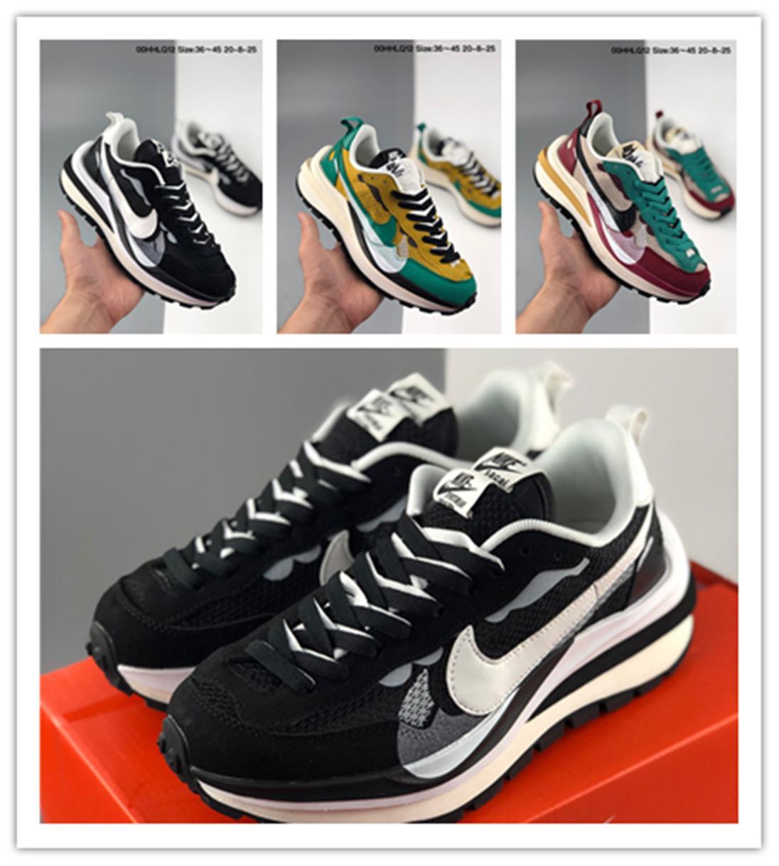2020 новый Sacai LD вафельные мужчины женщины кроссовки Нейлон Тройные черные мужчины обувь тренеров, работающих размер спортивной обуви 36-45