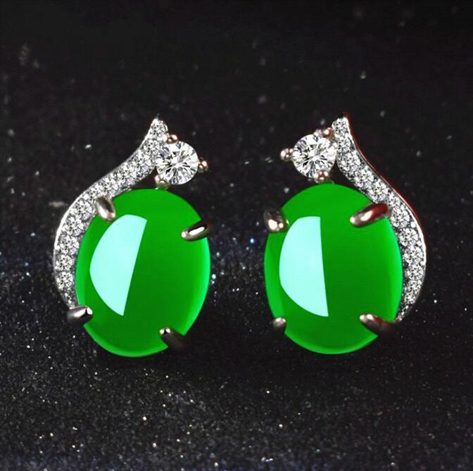 Natürliche grüne Jade Chalcedon runde Ohrringe 925 Silber Achat geschnitzte Charme Jadeit Schmuck Mode Amulett für Frauen Geschenke
