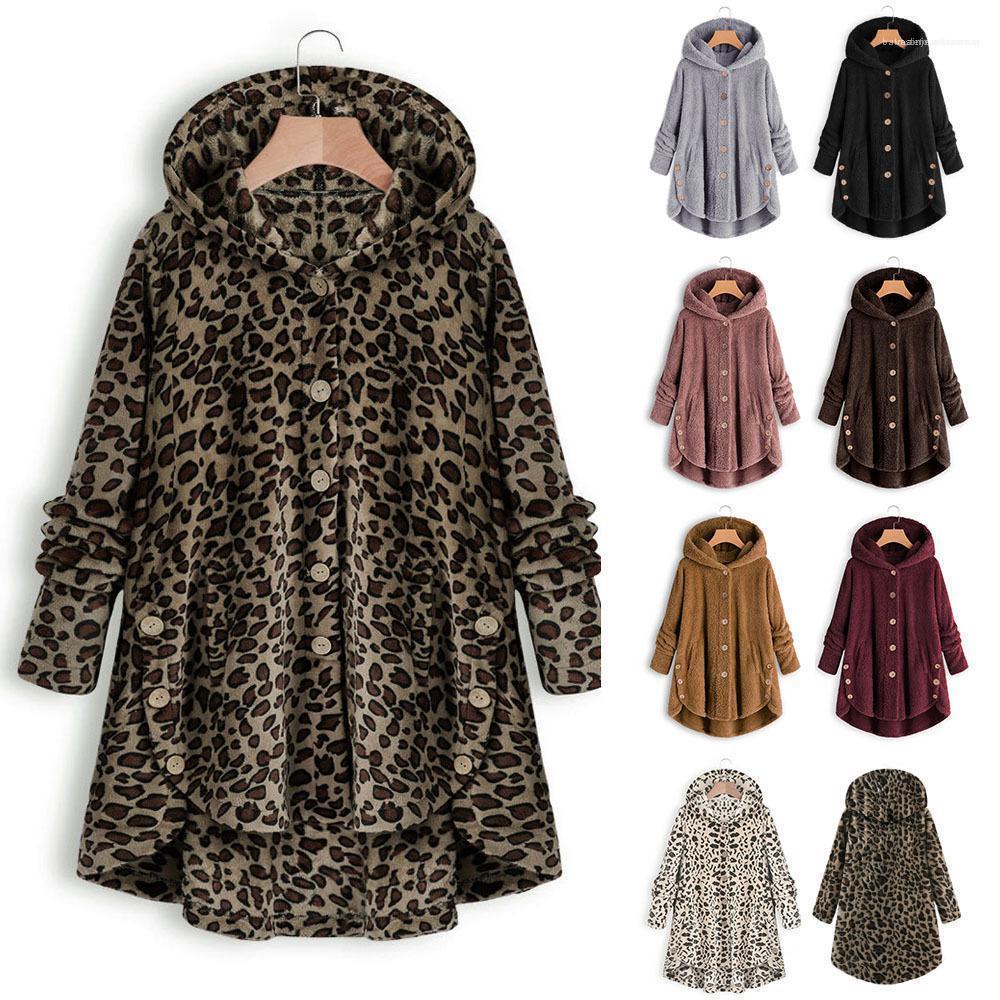 С капюшоном однобортный пальто Женский Vestidoes 4XL 5XL Весна Женщины Одежда Новый Leopard моды куртки вскользь Сыпучие
