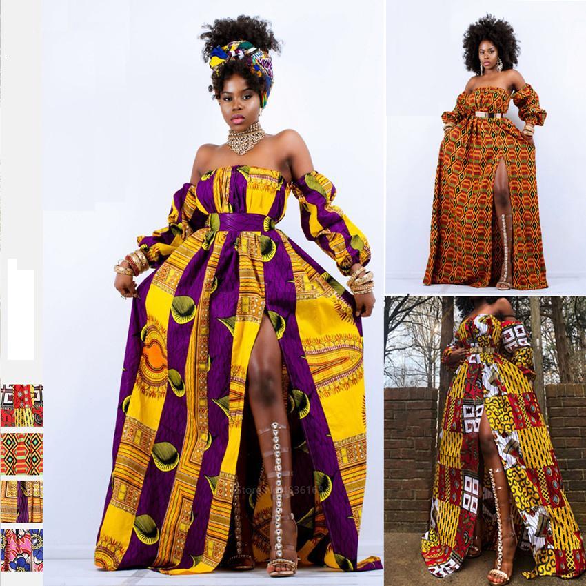 Vêtements pour femmes d'Afrique 2020 Nouvelles épaule Off Robe Dashiki Imprimer manches longues Maxi Vêtements taille des robes pour les femmes africaines CX200813