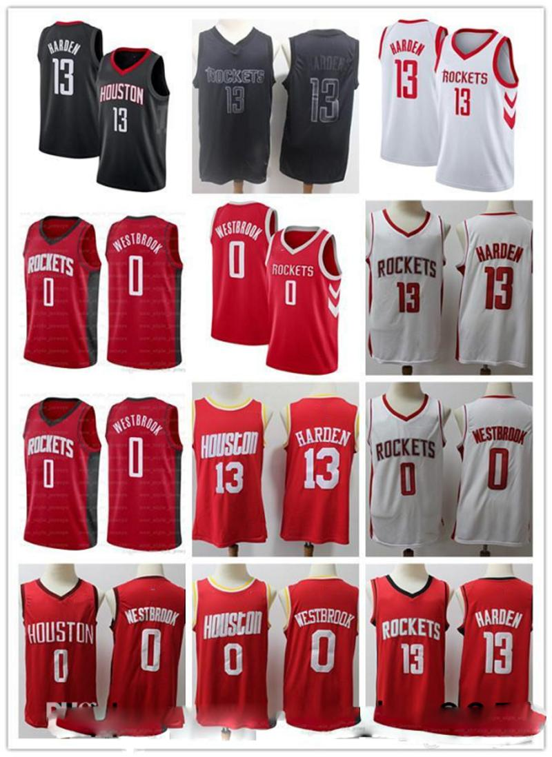 2020 Mens 13 Джеймс ХарденХьюстон 0 Уэстбрук Красный Черный БелыйРакеты баскетбольная Серые