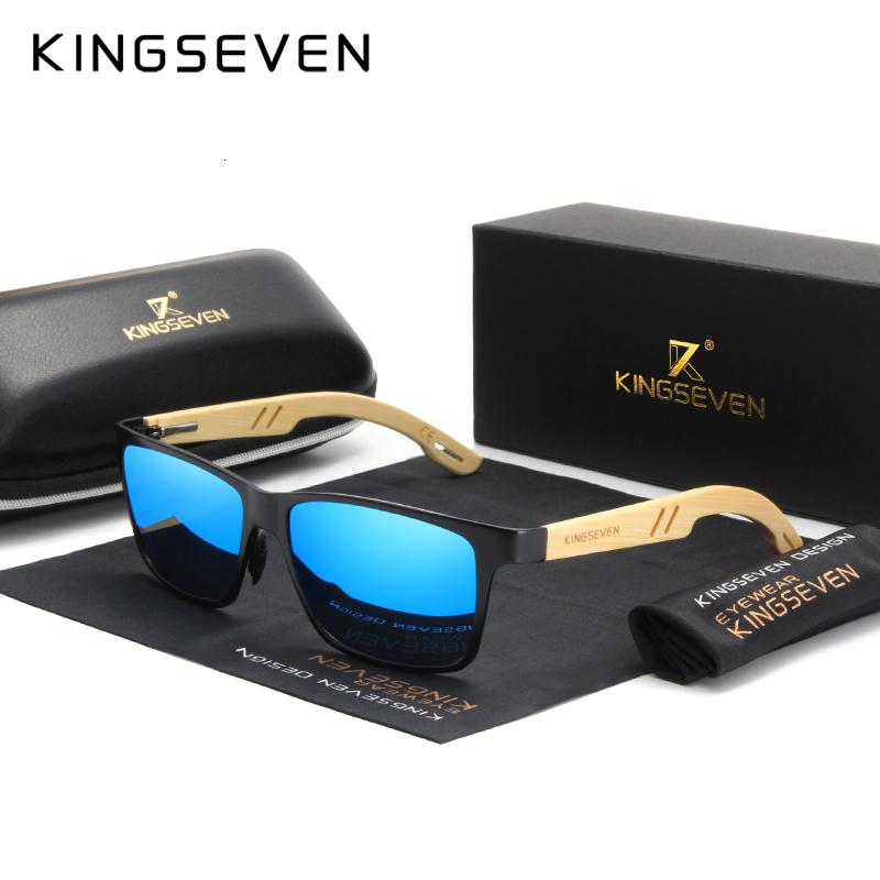 KINGSEVEN Marca original del diseño de aluminio + bambú natural de madera hechos a mano las gafas de sol polarizadas de los hombres Gafas Gafas de sol para las mujeres