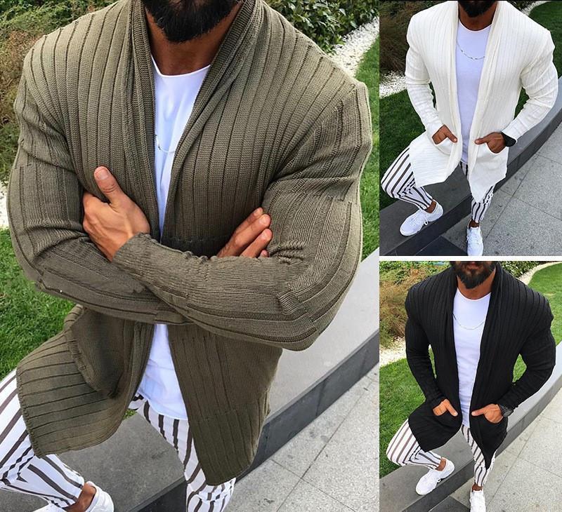 Мужские рукава Длинные свитера кардигана осени Мужские свитера новых людей свитера способа вскользь тонкий сплошной цвет Длинные