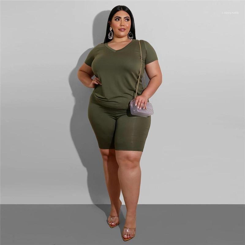 Rahat Katı Renk V yaka tişört Suit Designe Moda Yaz Kısa Sleeve 2PCS Seti Artı Boyutu Womens