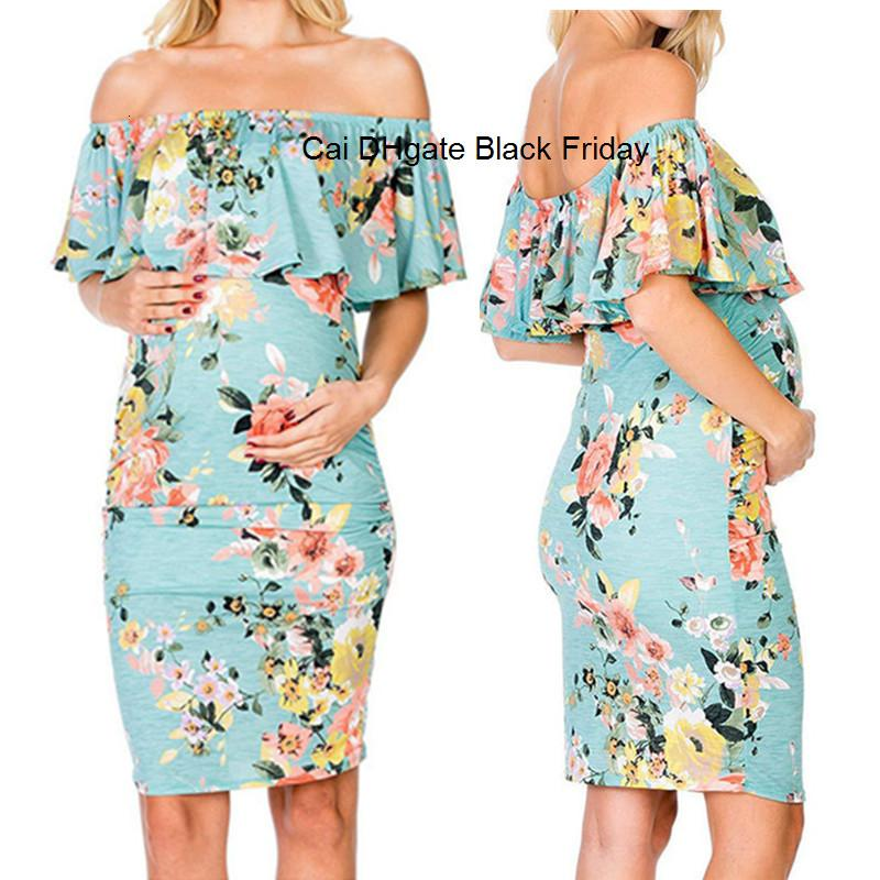 New Pregnancy Dress Women's Maternity Ruffle Off-shoulder Floral Print Dress Pregnancy Clothes Maternity Photography Props Gown