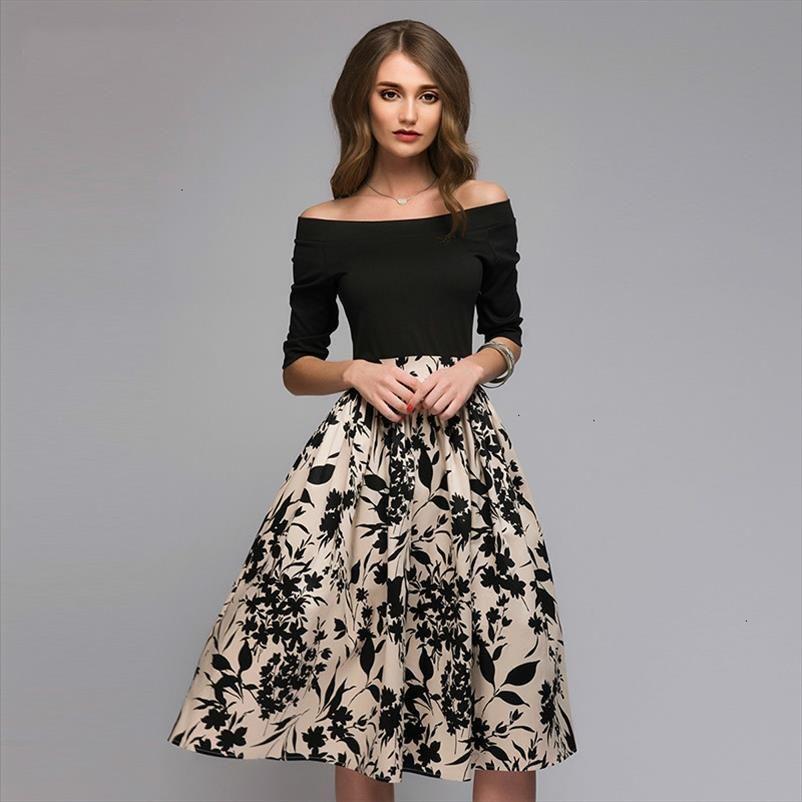 Primavera y verano impreso floral del remiendo del vestido de las mujeres atractivas del partido del hombro Vestidos Mujer de la raya vertical vestidos de cuello Casual ropa de diseño
