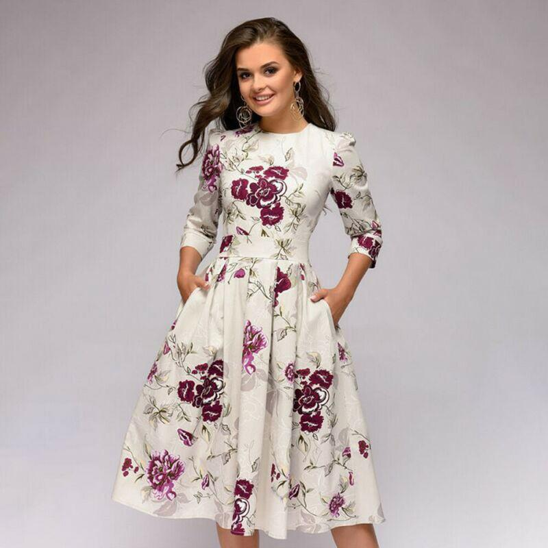 Women /4 Long Sleeved A-Line Beach Dress Evening Party Formal Maxi Floral Print Ladies Vintage Sundress Prom Long Gown