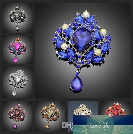 Joyería del estilo de la vendimia de Big Water Drop broches para las mujeres broche de la flor Pin colorido del Rhinestone de la brocha broche de la boda del envío