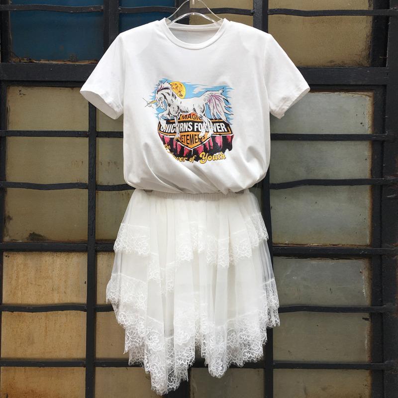 Tute da donna Womengaga 2021 Summer Toaw = Pezzo Set T-shirt + Gonna Casua Stampa sfusa PullOver Patchwork Pleated Laec Fashion Streetwear A5