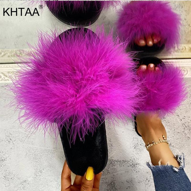 Les femmes en fourrure Pantoufles Furry Slides Sandales plates Femme Mignon Chaussures Fluffy Ouvert Fashion Toe Nouveau confortable sunmmer 2020 Vente chaude