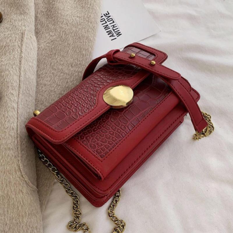 Сумка женская квадратная сумка 2020 новая кожаная мода мода плеча сумка крокодиловый узор цепи дизайнер мессенджер Crossbody Broaw