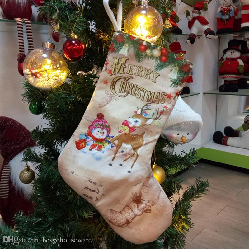 Creative Christmas Stockings Santa Claus Snowman Elck Christmas Tree Ornaments Home Party Decoration Children Candy Bags Gifts DBC BH4034