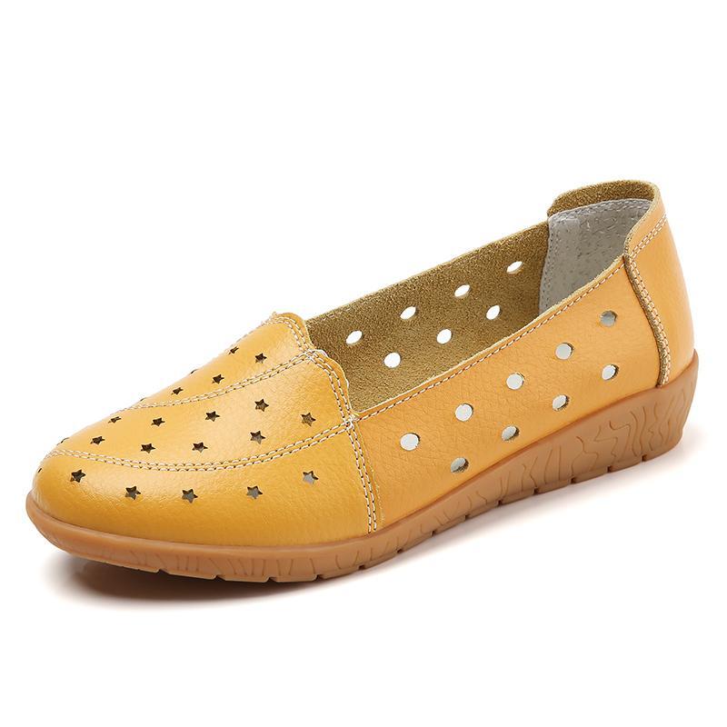 Calçados Femininos 35-41 Tamanho Grande do oco Verão New Mulheres Solteiros Shoes Peas Baixa Casual